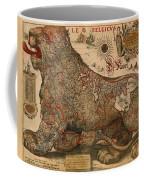 Antique Map Of Leo Belgicus 1630 Coffee Mug