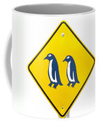 Attention Blue Penguin Crossing Road Sign Coffee Mug