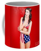Attractive Usa Pinup Woman Smoking Coffee Mug