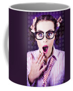 Attractive Young Nerd Girl With Surprised Look Coffee Mug