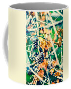 Autumn Leaves And Pinecone Background Coffee Mug