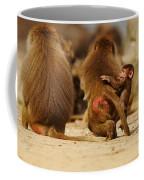 Baboon Family In The Desert Coffee Mug
