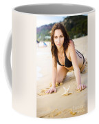 Beach Fun With A Gorgeous Brunette Coffee Mug