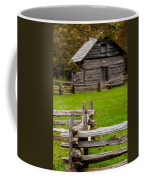 Beautiful Autumn Scene Showing Rustic Old Log Cabin Surrounded B Coffee Mug