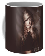 Beautiful Blond Army Pinup Girl Smoking Cigarette Coffee Mug