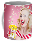 Beautiful Girl Watching Premier At Movie Theater Coffee Mug