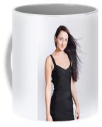 Beautiful Model With Long Straight Brunette Hair Coffee Mug