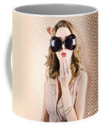 Beautiful Surprised Girl Wearing Big Sunglasses Coffee Mug