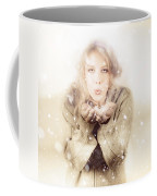 Beautiful Young Woman Blowing Snow In Winter Style Coffee Mug