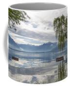 Bench With Trees On A Flooding Alpine Lake Coffee Mug