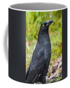 Black Tasmanian Crow Standing In Green Forest Coffee Mug