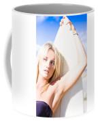 Blond Sports Girl Holding Surfboard Coffee Mug