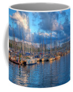 Boats In The Harbor Of Barcelona Coffee Mug