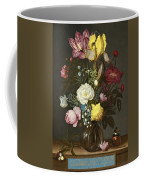 Bouquet Of Flowers In A Glass Vase Coffee Mug