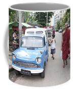 Buddhist Monks In Yangon Street Myanmar Coffee Mug