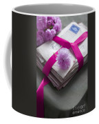 Bundle Of Old Love Letters Tied With Ribbon And Blossom Coffee Mug