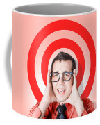 Business Man In Fear On Target Background Coffee Mug