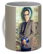Businessman In Stress With Hands Bound Up Coffee Mug