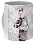 Businessman Under Falling Money. Financial Success Coffee Mug
