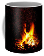 Campfire As A Symbol Of Warmth And Life On Black Coffee Mug