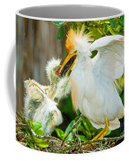 Cattle Egret With Young In Nest Coffee Mug