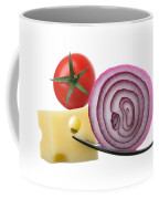 Cheese Onion And Tomato On Forks Against White Coffee Mug
