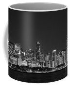 Chicago Skyline At Night Black And White Panoramic Coffee Mug by Adam Romanowicz