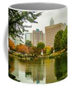 City Skyline In Fog And Rainy Weather During Autumn Season Coffee Mug