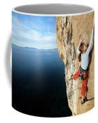 Climber Grabs A Hold While Climbing Coffee Mug