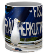 Closeup Of A Seagull On A Fisher Boat  Coffee Mug