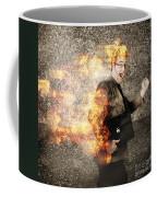 Crazy Businessman Running Engulfed In Fire. Late Coffee Mug