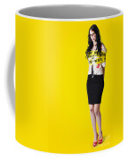 Creepy Homicide Girl Standing Undead On Yellow Coffee Mug