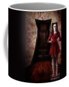 Creepy Woman With Bloody Scissors In Haunted House Coffee Mug