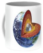 Cross Section Of Planet Earth Showing Coffee Mug