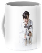 Cute Little Dog At The Vet Coffee Mug by Edward Fielding