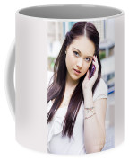 Cute Sales Woman Discussing Business Deal On Phone Coffee Mug