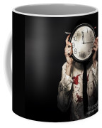 Dead Business Person Holding End Of Time Clock Coffee Mug
