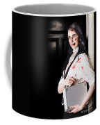 Dead Female Zombie Worker Holding Briefcase Coffee Mug