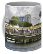 Digital Oil Painting - Visitors On Viewing Plaza On Singapore River Next To The Merlion Coffee Mug