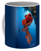 Diver Looks On At A Bright Red Soft Coffee Mug