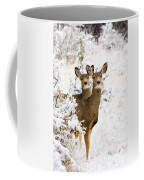 Doe Mule Deer In Snow Coffee Mug