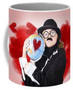 Eccentric Man Showing World Love By Cuddling Globe Coffee Mug