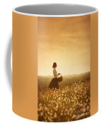 Edwardian Woman In A Meadow At Sunset Coffee Mug