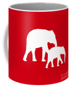 Elephants In Red And White Coffee Mug