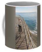 Elevated Perspective Of Woman Riding Coffee Mug