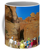 Entering Mile-long And 600 Foot High Gorge Leading To Treasury In Petra-jordan  Coffee Mug