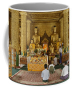 faithful Buddhists praying at Buddha Statues in SHWEDAGON PAGODA Coffee Mug