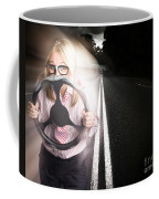 Fast Business Woman Driving Car With Light Trails Coffee Mug