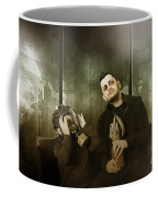 Father And Son In Gasmask. Nuclear Terror Attack Coffee Mug