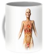Female Body With Bone Skeleton Coffee Mug